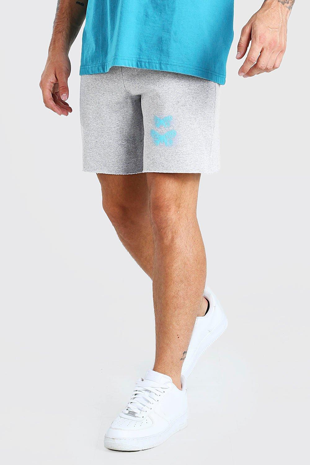 Mens Mid Length Jersey Short With Butterfly Print - Grey