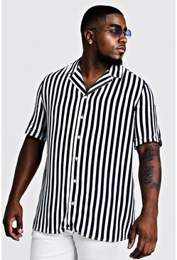 Herr Navy Big & Tall Revere Collar Stripe Shirt