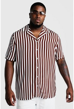 Mens Rust Big & Tall Revere Collar Stripe Shirt