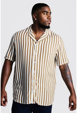 Herr Tobacco Big & Tall Revere Collar Stripe Shirt