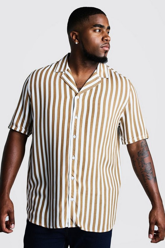 Big & Tall Revere Collar Stripe Shirt by Boohoo