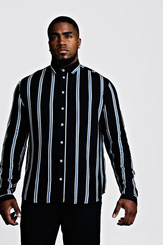 Black Big & Tall Stripe Print Shirt