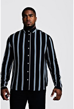 Mens Black Big & Tall Stripe Print Shirt