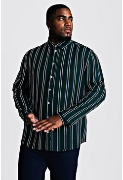 Mens Forest Big & Tall Stripe Print Shirt
