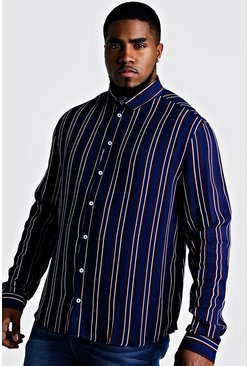 Mens Burgundy Big & Tall Stripe Print Shirt