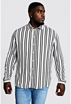 White Big & Tall Stripe Print Shirt