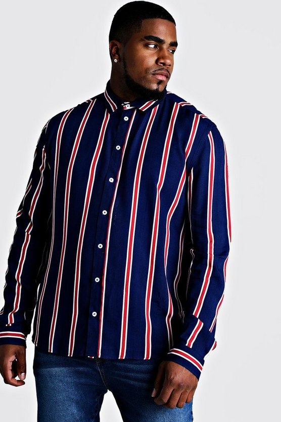 Navy Big & Tall Stripe Print Shirt