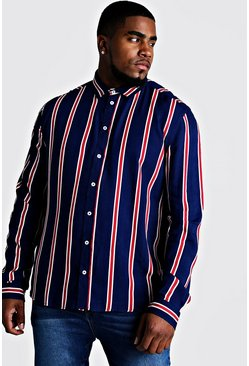 Mens Navy Big & Tall Stripe Print Shirt