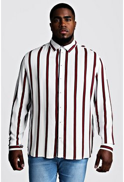 Herr White Big & Tall Stripe Print Shirt