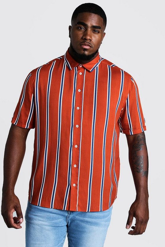 Rust Big & Tall Stripe Print Shirt