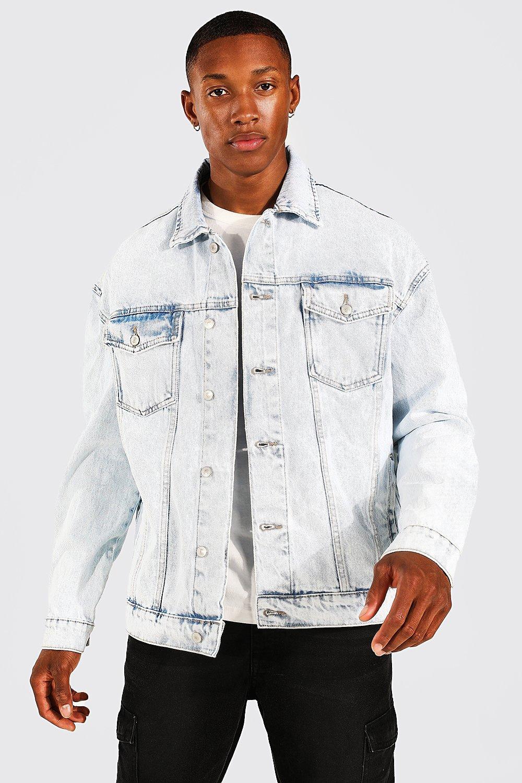 80s Windbreakers, Jackets, Coats | 90s Outerwear Mens Oversized Fit Jean Jacket - Blue $27.00 AT vintagedancer.com