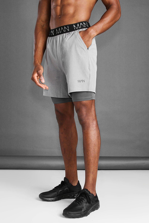 mens man active 2 in 1 marl short - grey