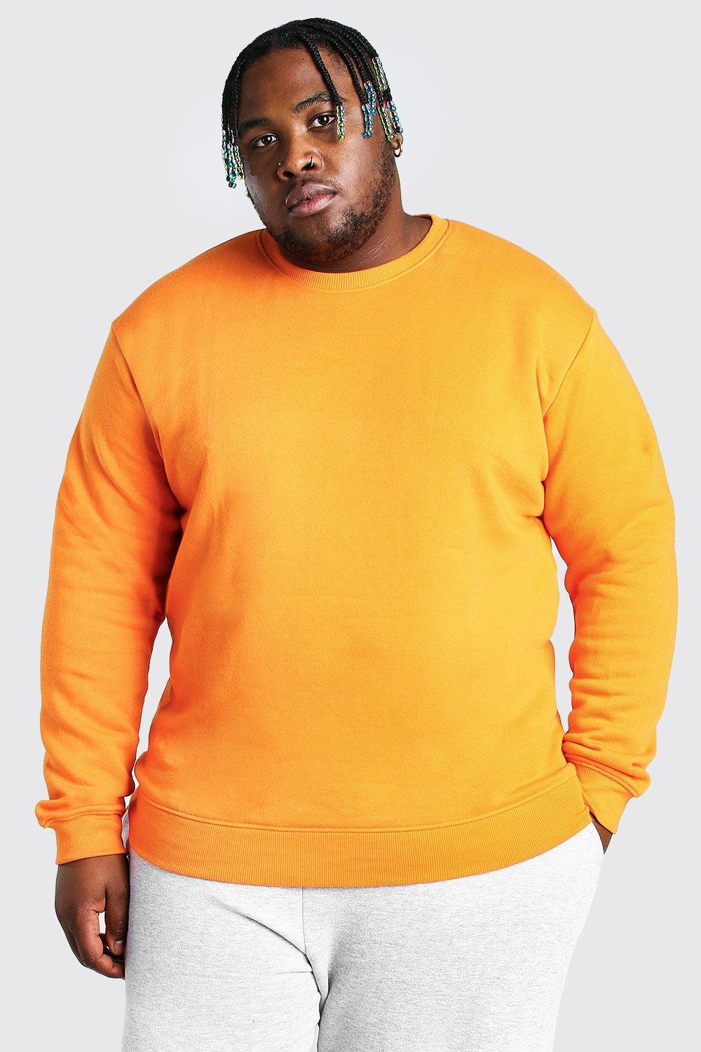 mens plus size basic sweater - orange