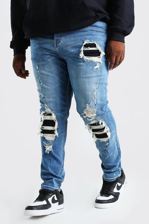 mens plus size super skinny distressed jean - blue