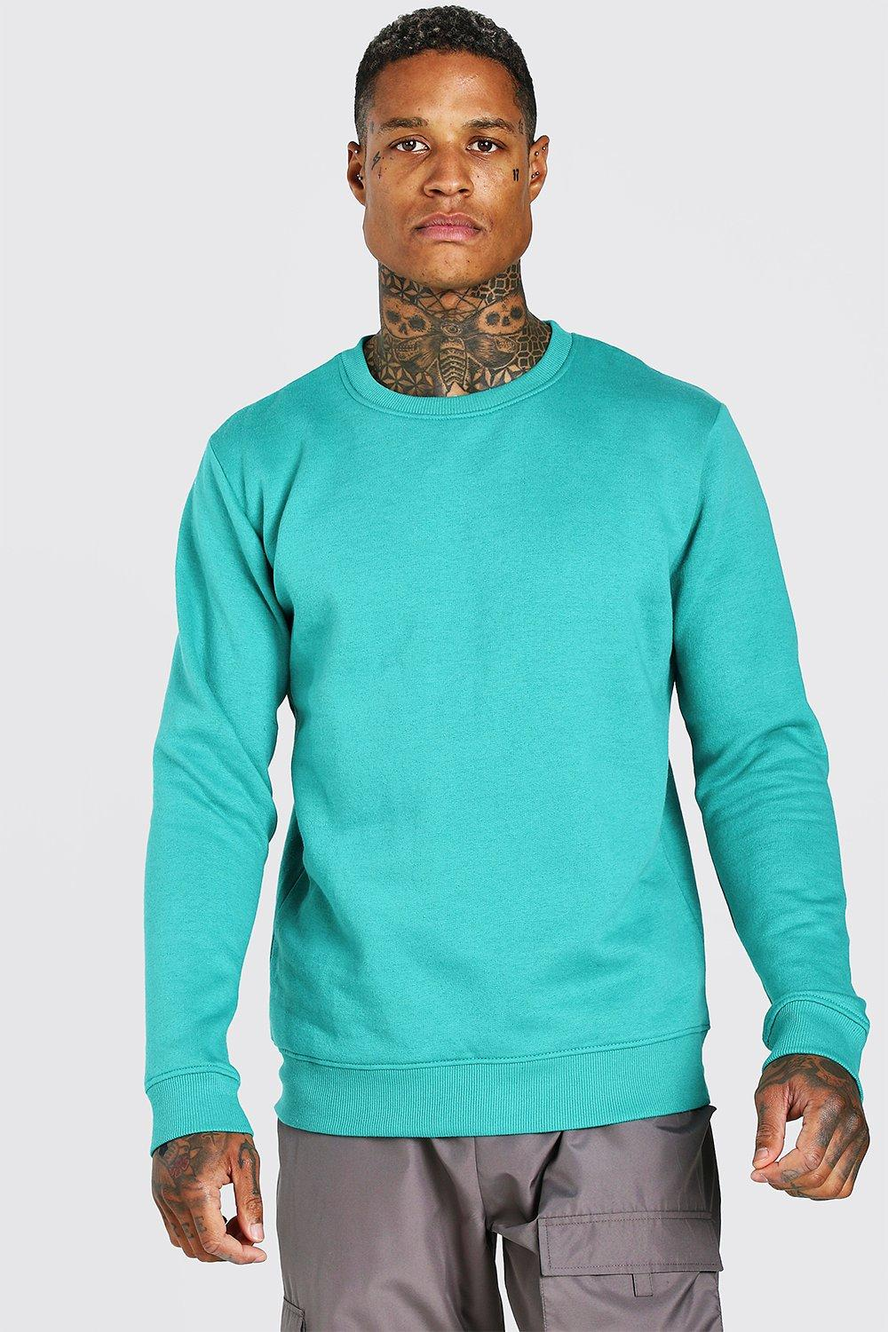 Men's Vintage Sweaters History Mens Basic Crew Neck Fleece Sweatshirt - Green $8.00 AT vintagedancer.com