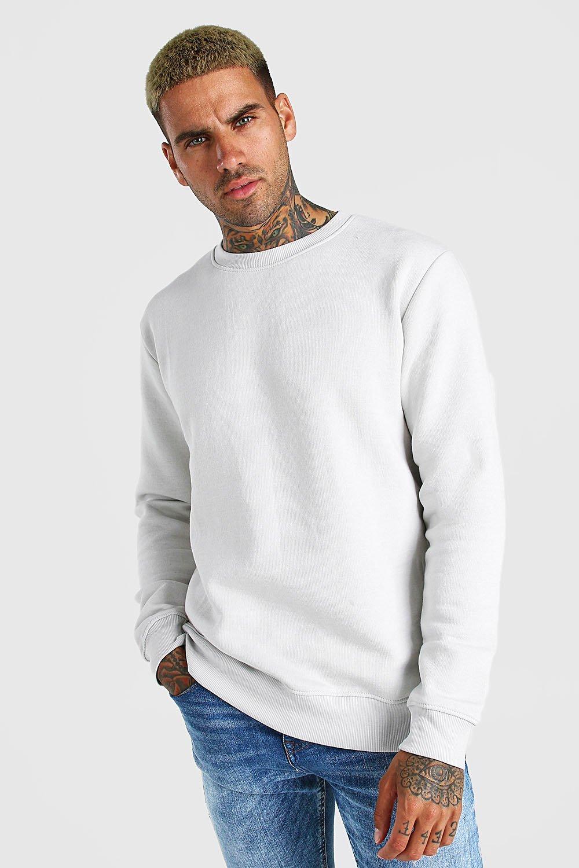 Men's Vintage Sweaters, Retro Jumpers 1920s to 1980s Mens Basic Crew Neck Fleece Sweatshirt - Grey $10.80 AT vintagedancer.com