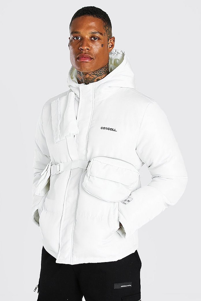 boohooMAN puffer jacket with detachable