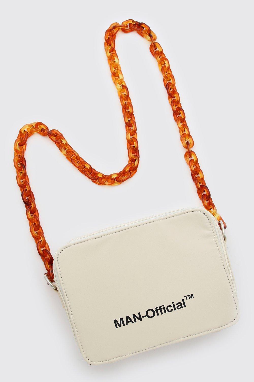 mens man multi pocket bag with chain strap - white