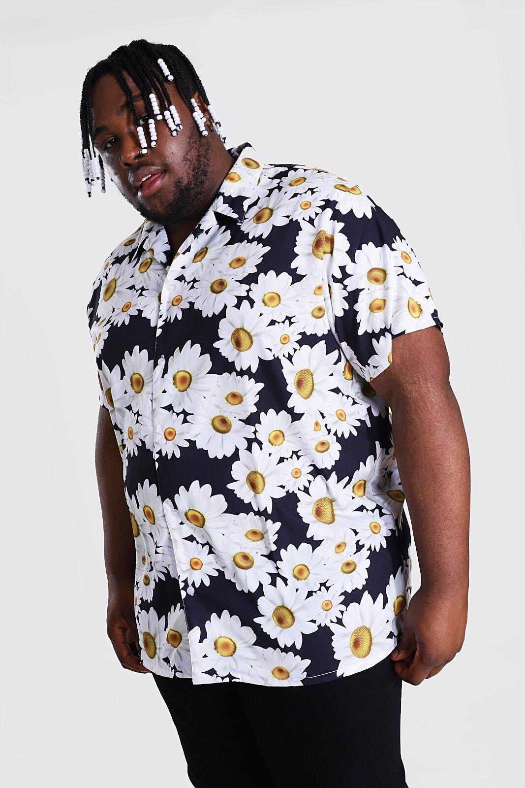 1960s Men's Clothing Mens Plus Size Short Sleeve Revere Daisy Shirt - Black $18.00 AT vintagedancer.com