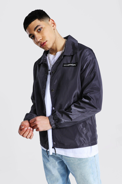 mens grey man official branded nylon coach jacket, grey
