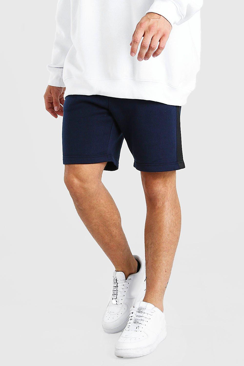 mens mid length jersey short with side tape - navy