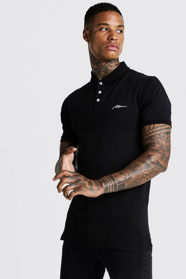 Mens Black MAN Signature Longline Muscle Fit Polo