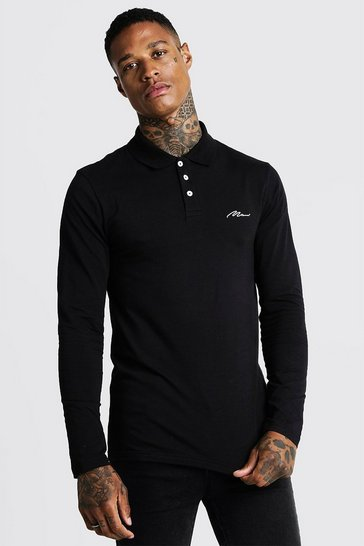 Mens Black MAN Signature Muscle Fit Long Sleeve Polo