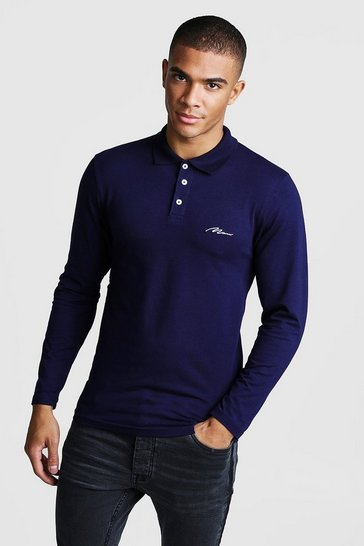 Mens Navy MAN Signature Muscle Fit Long Sleeve Polo