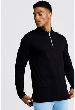 Black Long Sleeve Jersey Zip Placket Polo
