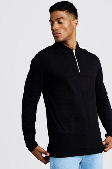 Mens Black Long Sleeve Jersey Zip Placket Polo