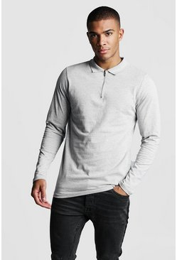 Mens Grey Long Sleeve Jersey Zip Placket Polo