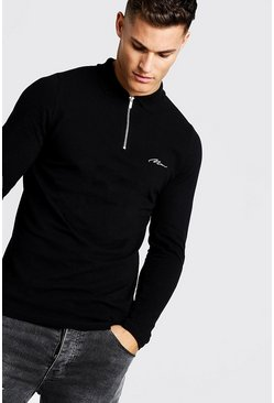 Black MAN Signature Long Sleeve Pique Zip Placket Polo