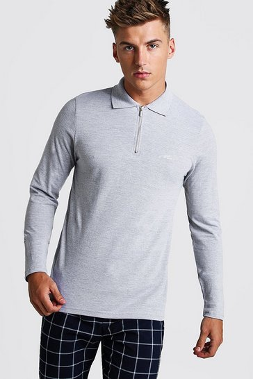 Mens Grey MAN Signature Long Sleeve Pique Zip Placket Polo