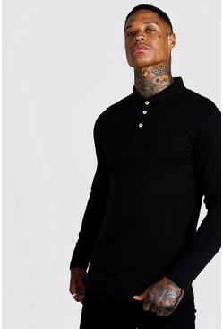 Mens Black Long Sleeve Jersey Polo