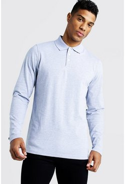 Mens Grey Long Sleeve Jersey Polo