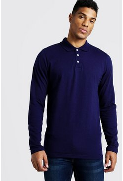 Mens Navy Long Sleeve Jersey Polo