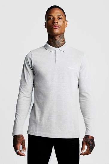 Mens Grey MAN Signature Long Sleeve Pique Polo