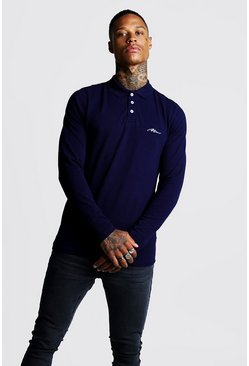 Mens Navy MAN Signature Long Sleeve Pique Polo