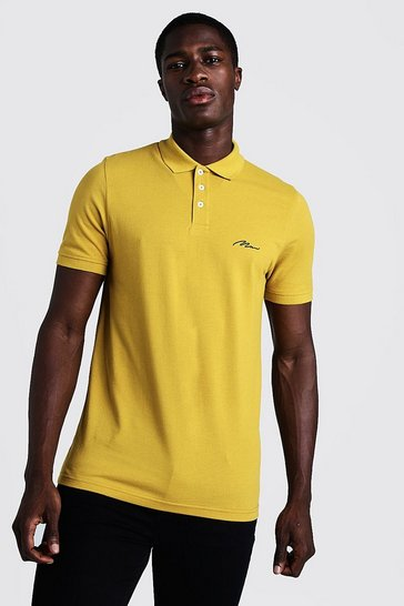 Mens Mustard Man Signature Pique Polo
