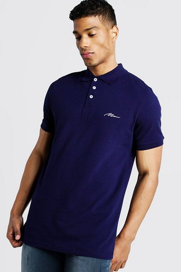 Mens Navy Man Signature Pique Polo