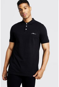 Black Man Signature Pique Polo