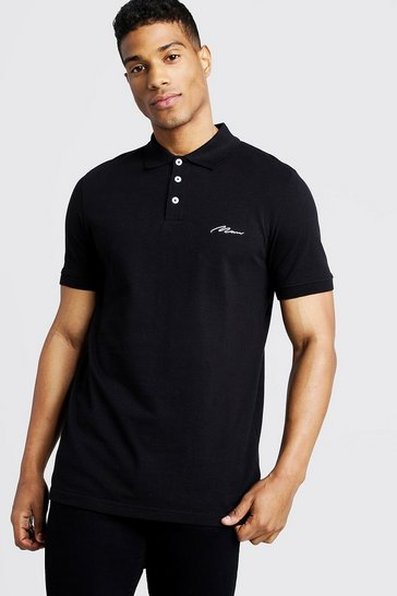 Mens Black Man Signature Pique Polo