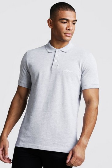 Mens Grey Man Signature Pique Polo