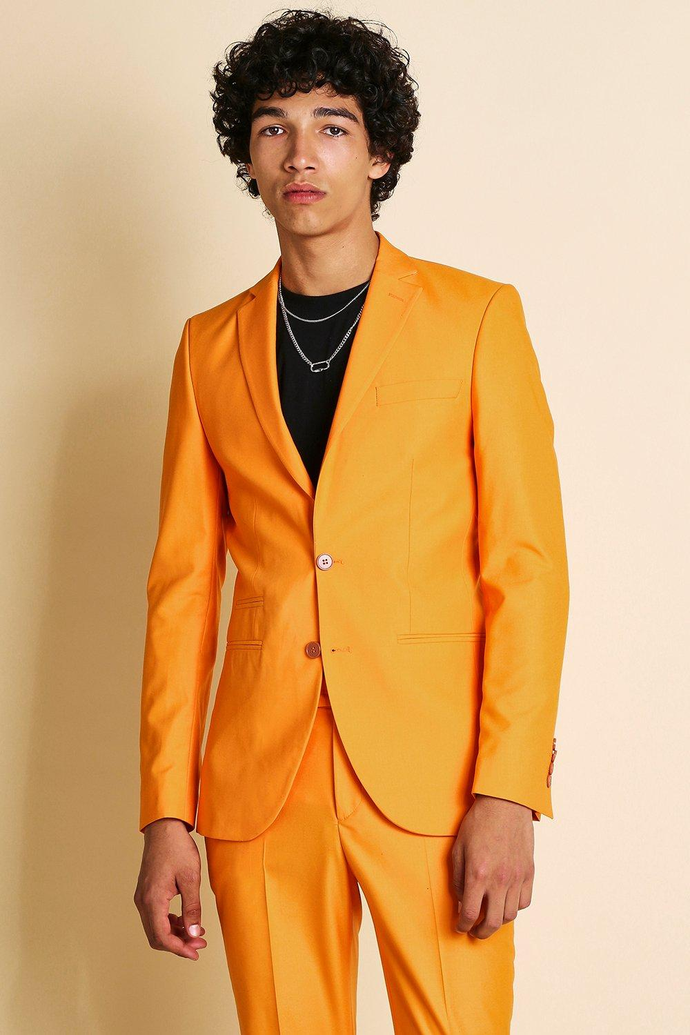 mens super skinny plain suit jacket - orange