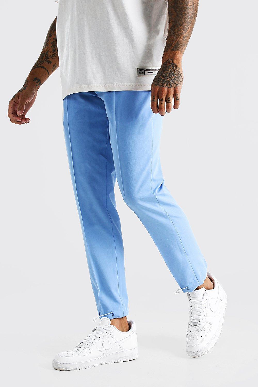 mens slim plain elasticated cuff smart pants - blue