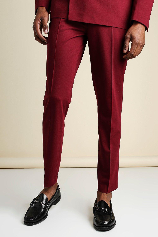 60s – 70s Mens Bell Bottom Jeans, Flares, Disco Pants Mens Slim Plain Suit Pants With Chain - Red $24.00 AT vintagedancer.com