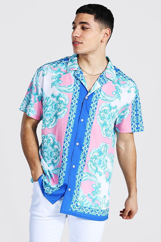 80s Men's Clothing   Shirts, Jeans, Jackets for Guys Mens Oversized Short Sleeve Baroque Border Shirt - Pink $21.00 AT vintagedancer.com