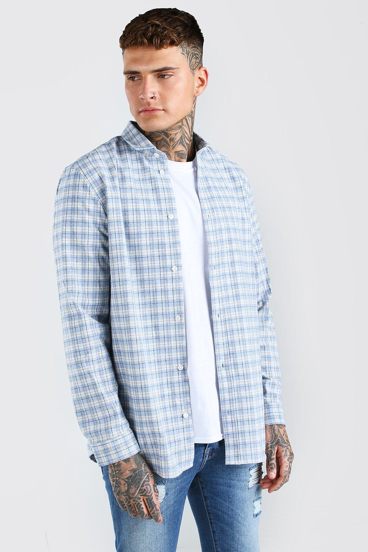 mens long sleeve longline flannel flannel shirt - blue