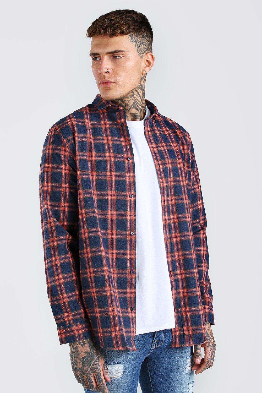 mens long sleeve longline flannel flannel shirt - navy