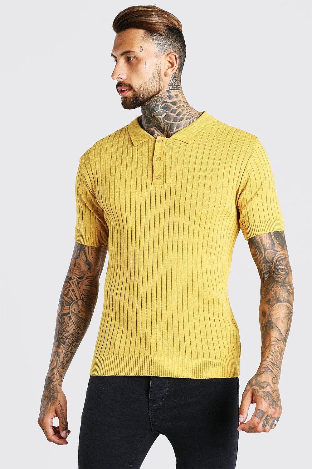 60s 70s Men's Clothing UK | Shirts, Trousers, Shoes Mens Muscle Fit Ribbed Knitted Polo - Yellow $10.00 AT vintagedancer.com